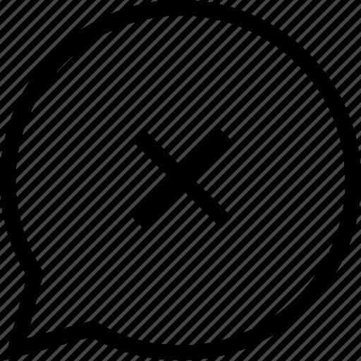 bubble, cancel, chat, remove, social icon