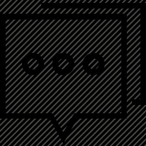 box, chat, dots, social icon