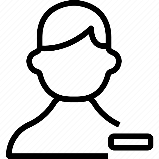 avatar, man, minus, remove, user icon