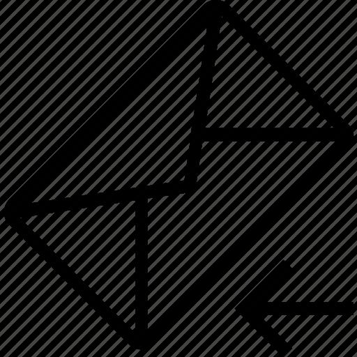 arrow, envelope, left, mail icon