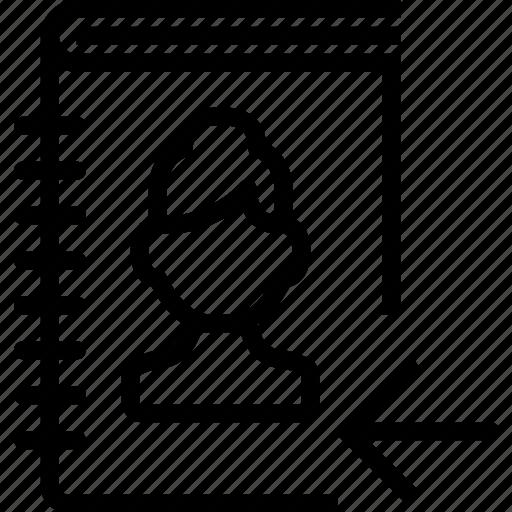 arrow, book, left, profile, woman icon