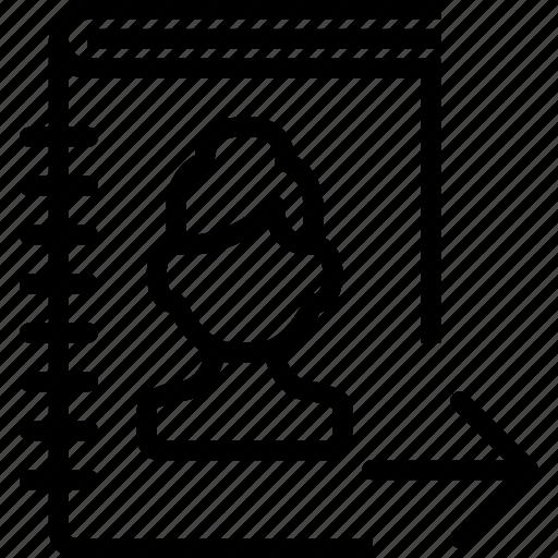 arrow, book, profile, right, woman icon