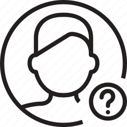 avatar, circle, man, mark, question icon