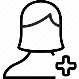 add, avatar, female, plus, user icon
