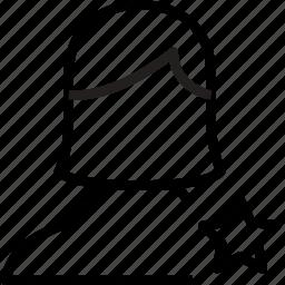 avatar, favorite, female, star, user icon