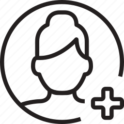 add, avatar, circle, plus, woman icon
