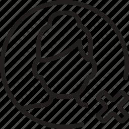avatar, cancel, circle, remove, woman icon