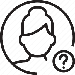 avatar, circle, mark, question, woman icon
