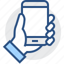 cell, device, hand, mobile, phone, smartphone icon