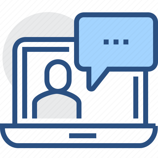 bubble, chat, communicate, communication, computer, laptop, video icon