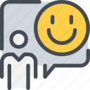 communication, happy, people, person, speech bubble, talk icon