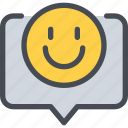 communication, happy, message, speech bubble, talk icon