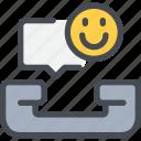 call, communication, happy, phone, speech bubble, talk icon