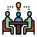 meeting, sharing, sitting, talking, trading icon