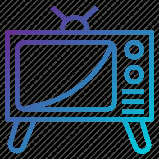 electronics, monitor, television, transport, tv, vintage icon