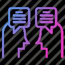 communication, conversation, dialogue, discussion, speech, talk icon