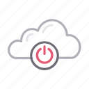 cloud, logout, off, power, shutdown icon
