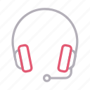 audio, communication, headset, services, support icon