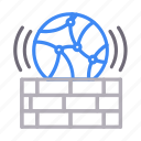 connection, global, network, security, wall icon