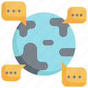world, global, communication, speaking, conversation, chat icon