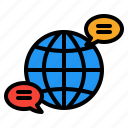 global, communication, interaction, message, bubble, talk, chat