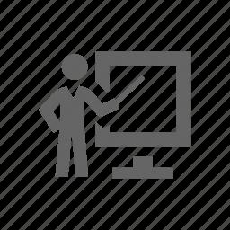 communications, discussion, person, presentation icon