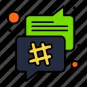 bubble, chat, conversation, hash, speech, tag icon