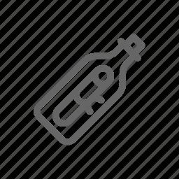 bottle, letter, message, mib icon