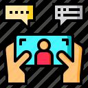 chat, finger, hand, network, smartphone, social, talk