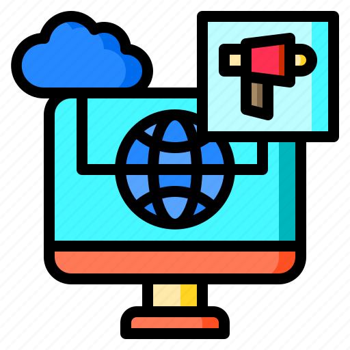 Advertisement, advertising, cloud, computer, monitor, weather, worldwide icon - Download on Iconfinder