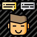 chat, conversation, discourse, speack, speech, talk, text