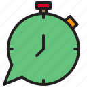 box, chat, clock, connection, time icon