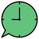 box, chat, clock, time icon