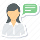 conversation, chat, comment, dialogue, message, speech, talk