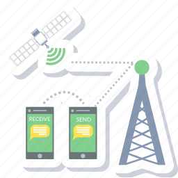 chat, cloud, communication, connection, mobile, network, satellite icon
