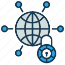 globe, lock, network protection, privacy, web protection