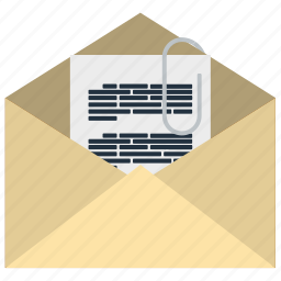 attachment, business, communication, email, information, mail, technology icon