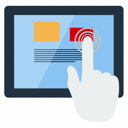 business, click, communication, finger, information, tablet, technology icon