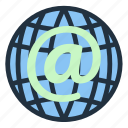 business, communication, globe, information, internet, mail, technology icon