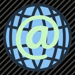 business, communication, globe, information, internet, mail, technology icon