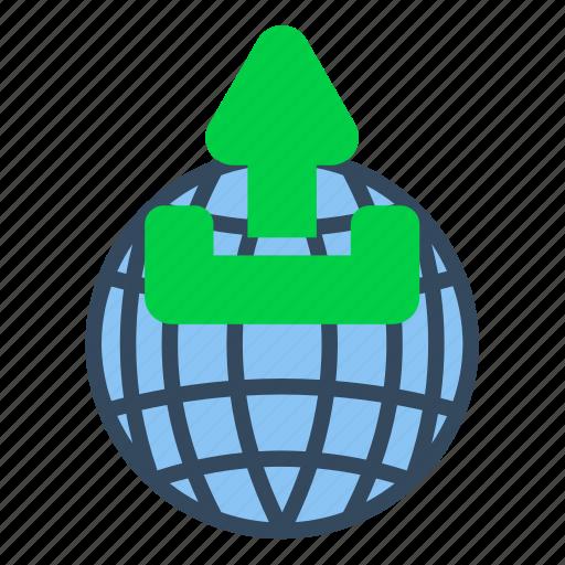 business, communication, globe, information, technology, upload, world icon
