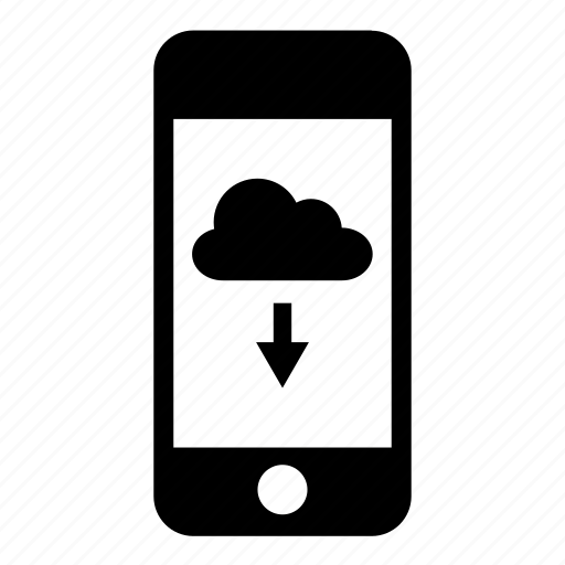 cloud, download, iphone, mobile, phone, smartphone, telephone icon