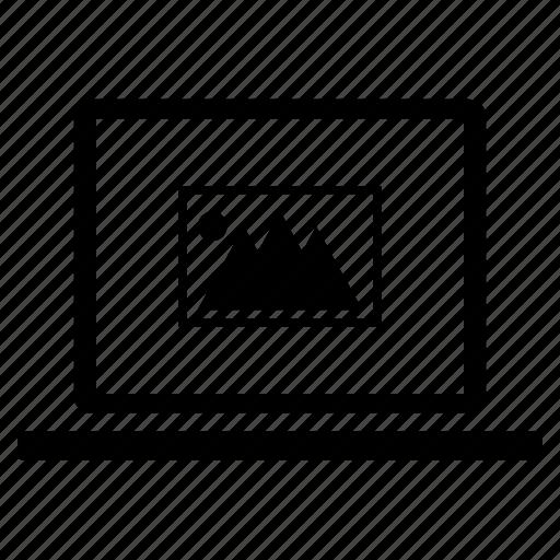 communication, computer, file, image, laptop, photo, picture icon