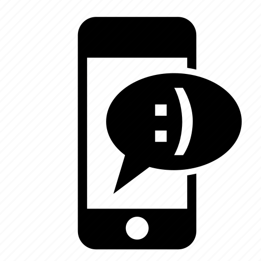 communication, message, messaging, mobile, phone, smile, speech bubble icon
