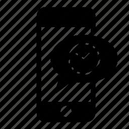 clock, communication, message, messaging, mobile, phone, speech bubble icon