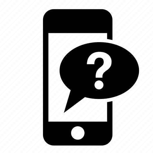 communication, message, messaging, mobile, question mark, smartphone, speech bubble icon