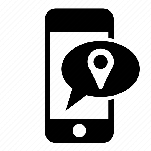 communication, location mark, message, messaging, phone, smartphone, speech bubble icon