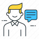 communicate, man, message, talking icon