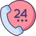 24 hours, call center, call centre, customer service, customer support, on call icon