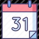 31, calendar, date, event, schedule icon
